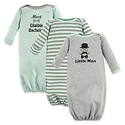 Luvable Friends® Size 0-6M 3-Pack Little Man Long Sleeve Sleepgowns