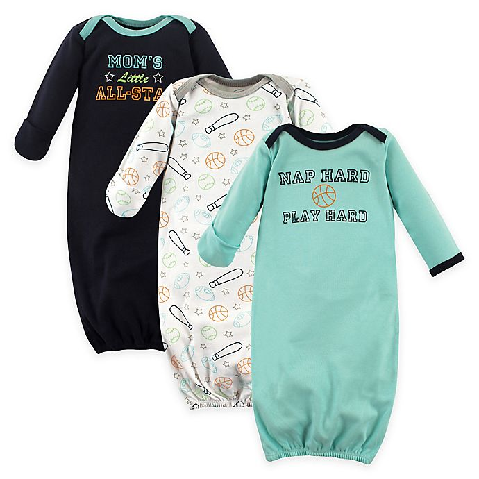 Alternate image 1 for Luvable Friends® Size 0-6M 3-Pack Long Sleeve Sleepgowns