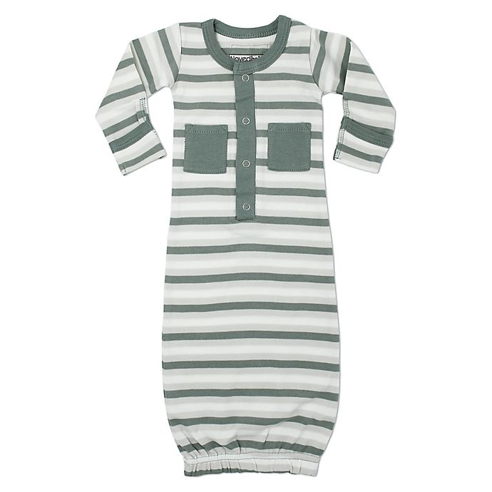 Alternate image 1 for L'ovedbaby® Striped Organic Cotton Gown