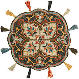 Loloi Rugs Remy 3' Round Handcrafted Area Rug in Charcoal/Rust