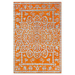 Safavieh Stone Wash Cyndy Damask 4' x 6' Area Rug in Copper