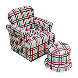Plaid Rolled Armchair and Ottoman