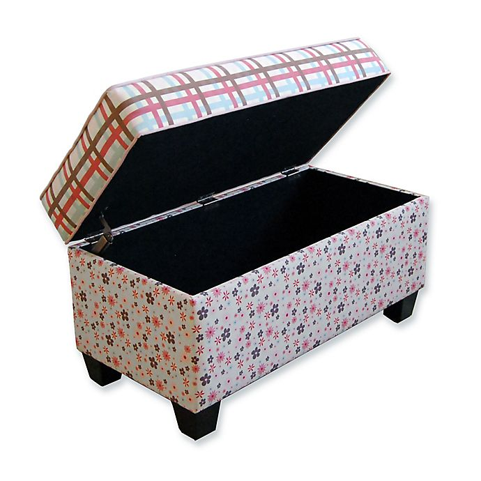 Alternate image 1 for Floral Plaid Storage Bench