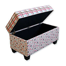 Floral Plaid Storage Bench