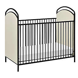 Little Seeds Rowan Valley Lotus Upholstered Metal Crib in Black