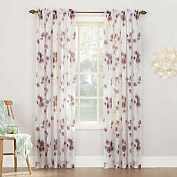 Keiko Floral Rod Pocket Sheer Window Curtain Panel