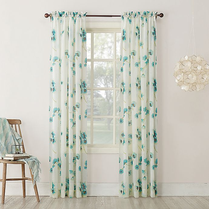 Alternate image 1 for Keiko Floral 84-inch Rod Pocket Sheer Window Curtain Panel in Aegean