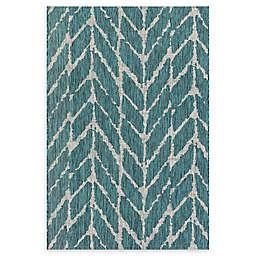Loloi Rugs Isle 2'2 x 3'9 Indoor/Outdoor Accent Rug in Teal/Grey