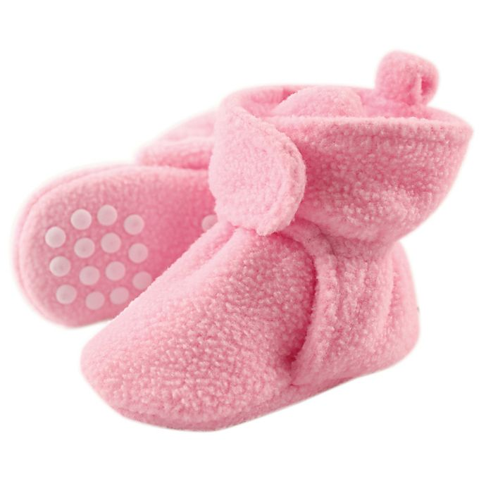 Alternate image 1 for Luvable Friends® Size 12-18M Scooties Fleece Booties in Light Pink