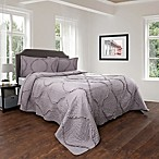 Nottingham Home Curved Ruffle Full/Queen Quilt Set in Silver