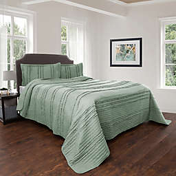 Nottingham Home Striped Ruffle Quilt Set