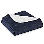 Jersey Sherpa Throw Blanket in Navy
