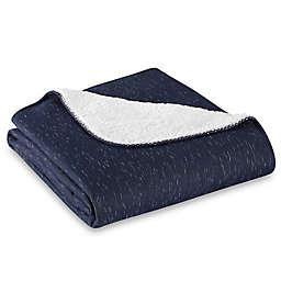 Jersey Sherpa Throw Blanket in Navy