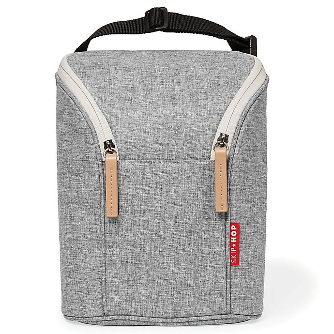 Alternate image 1 for Skip*Hop® Grab & Go Double Bottle Bag in Grey Melange