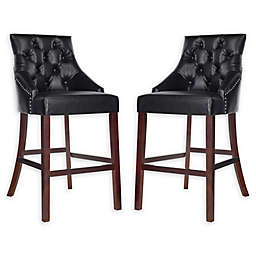 Safavieh Faux Leather Upholstered Barstools (Set of 2)