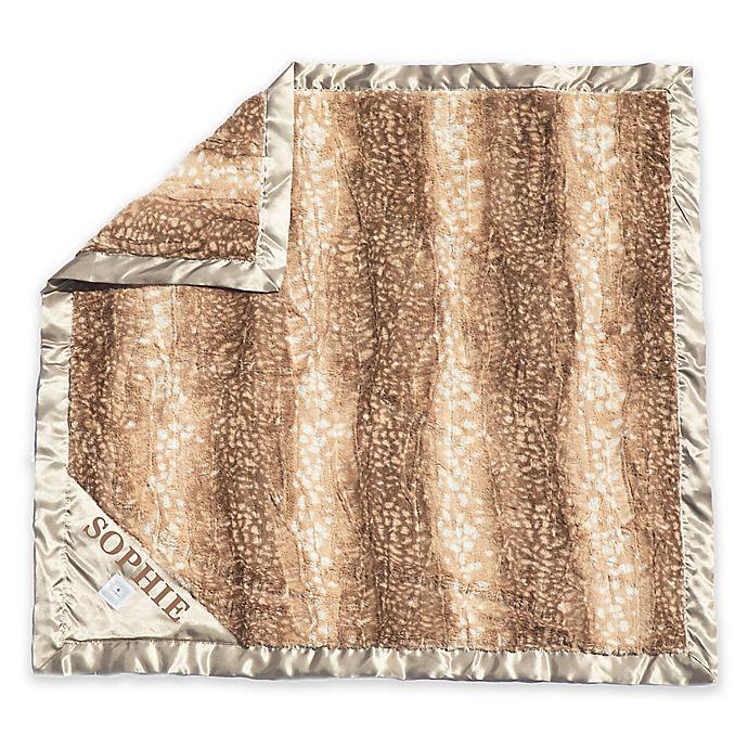 Alternate image 1 for Zalamoon Stroller Plush Blanket with Satin Trim in Tan/Ivory