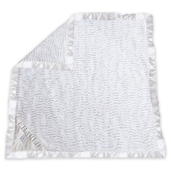 Alternate image 1 for Zalamoon Stroller Plush Blanket with Satin Trim in White