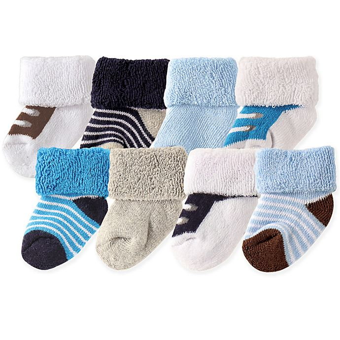 Alternate image 1 for Luvable Friends™ Newborn 8-Pack Stripe and Shoe Pattern Socks in Blue