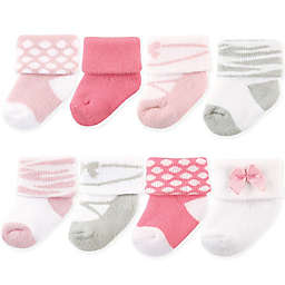 Luvable Friends® Size 6-12M 8-Pack Basic Cuff Socks in Ballet Pink