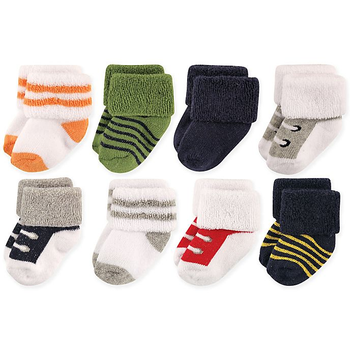 Alternate image 1 for Luvable Friends® Size 6-12M 8-Pack Basic Cuff Socks in White/Green
