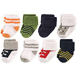 Luvable Friends® Size 6-12M 8-Pack Basic Cuff Socks in White/Green