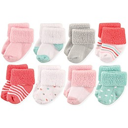 Luvable Friends® Size 6-12M 8-Pack Basic Cuff Socks in Coral