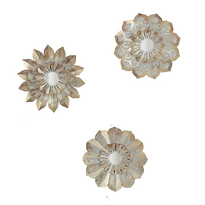 Alternate image 1 for Metallic Floral 12-Inch x 30-Inch Wall Art (Set of 3)