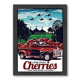 Americanflat 14-Inch x 11-Inch Come Enjoy Cherries Framed Wall Art