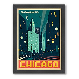 Americanflat Chicago: The Magnificent Mile 21-Inch x 27-Inch Framed Wall Art