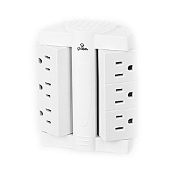 Globe Electric 6-Outlet Swivel Surge Protector Wall Tap in White
