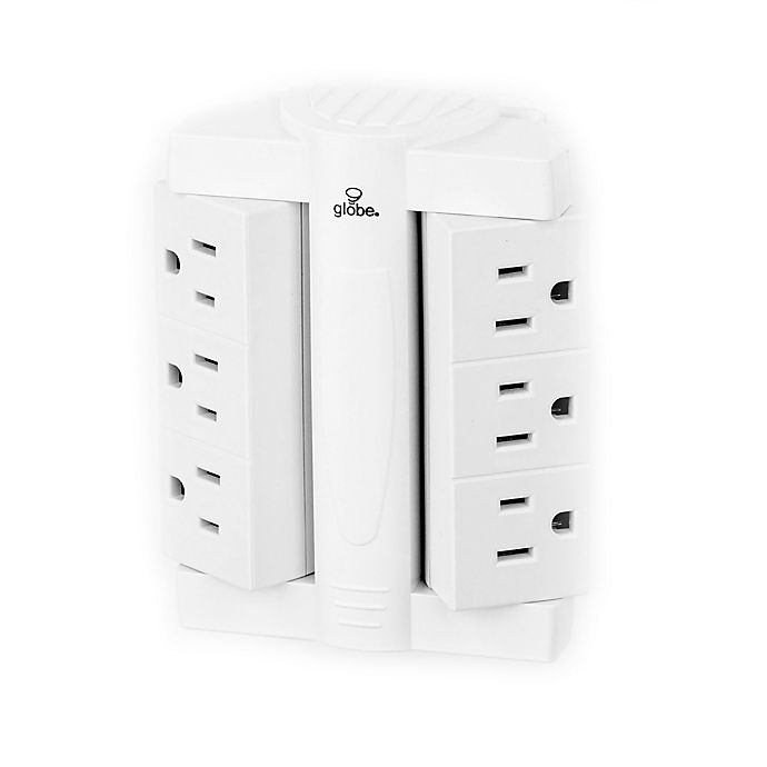 Alternate image 1 for Globe Electric 6-Outlet Swivel Surge Protector Wall Tap in White