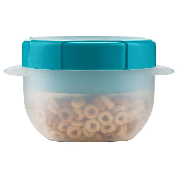Alternate image 1 for Trudeau 17 Oz. 2-Piece Milk and Cereal Container in Tropical Blue