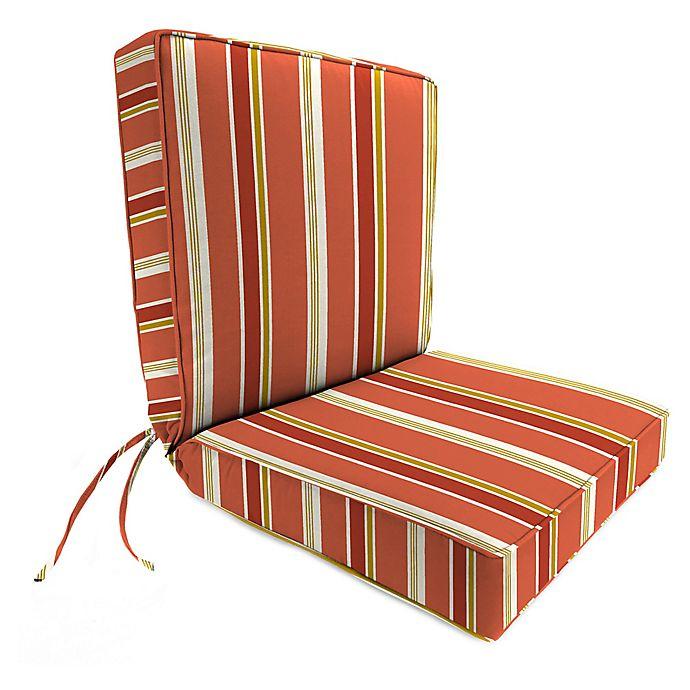 Alternate image 1 for Jordan Manufacturing Heatwave Stripe Outdoor Boxed Edge Chair Cushion in Orange/Multi