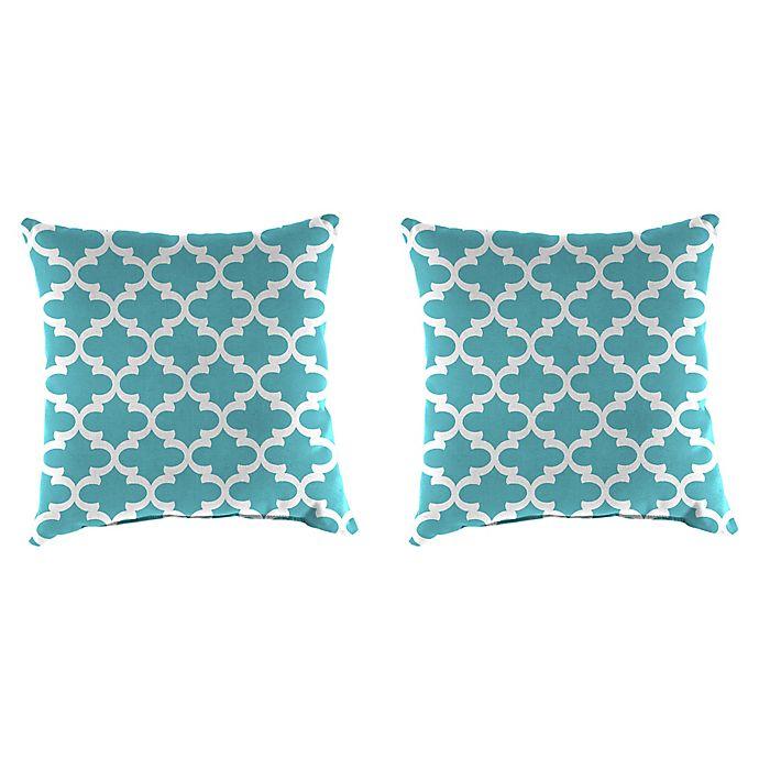 Alternate image 1 for Jordan Manufacturing Print 16-Inch Square Throw Pillows in Ocean (Set of 2)