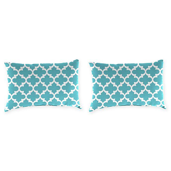 Alternate image 1 for Print Outdoor Lumbar Throw Pillows in Ocean (Set of 2)