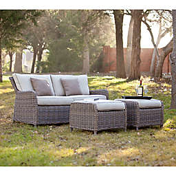 Southern Enterprises Avadi 3-Piece Outdoor Seater Sofa & Ottoman in Khaki/Grey