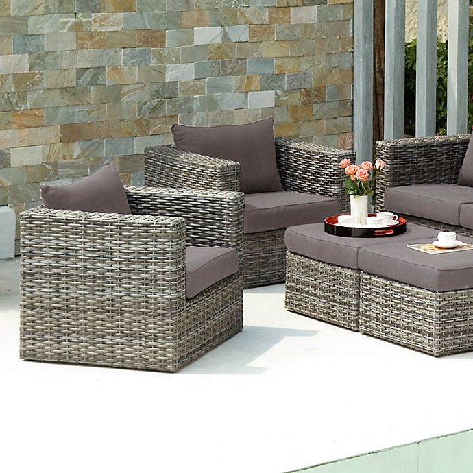 Alternate image 1 for Southern Enterprises Bristow 4-Piece Outdoor Chair and Ottoman Set in Grey