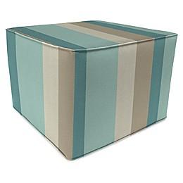 Stripe Outdoor 20-Inch Square Pouf/Ottoman in Sunbrella® Fabric