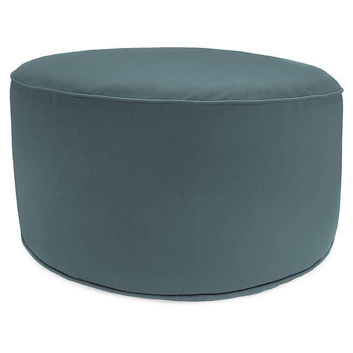 Incredible Outdoor Round Pouf Ottoman In Sunbrella Cast Lagoon Bed Machost Co Dining Chair Design Ideas Machostcouk