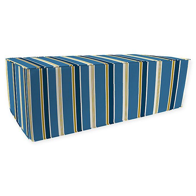 Alternate image 1 for Jordan Manufacturing Heatwave Stripe Outdoor Rectangle Pouf Ottoman in Cobalt