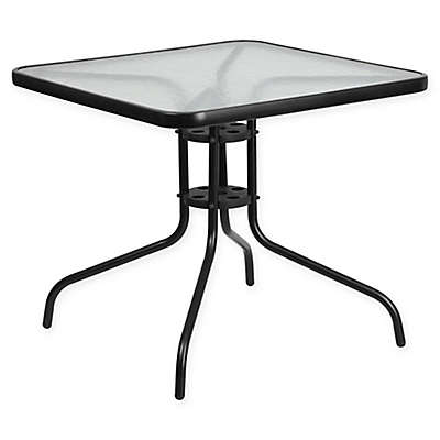 Flash Furniture Square Tempered Glass Outdoor Dining Table in Black