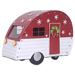 Exclusive Decorative Red Metal Camper with Lights