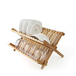 Mind Reader Bamboo Dish Drying Rack in Brown
