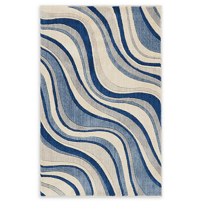 Bed Bath And Beyond Area Rugs Roselawnlutheran Earth Tone: Nourison Somerset Wave Woven Area Rug In Ivory/Blue