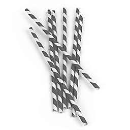 Kikkerland® Design 144-Pack Paper Straws in Grey Stripe