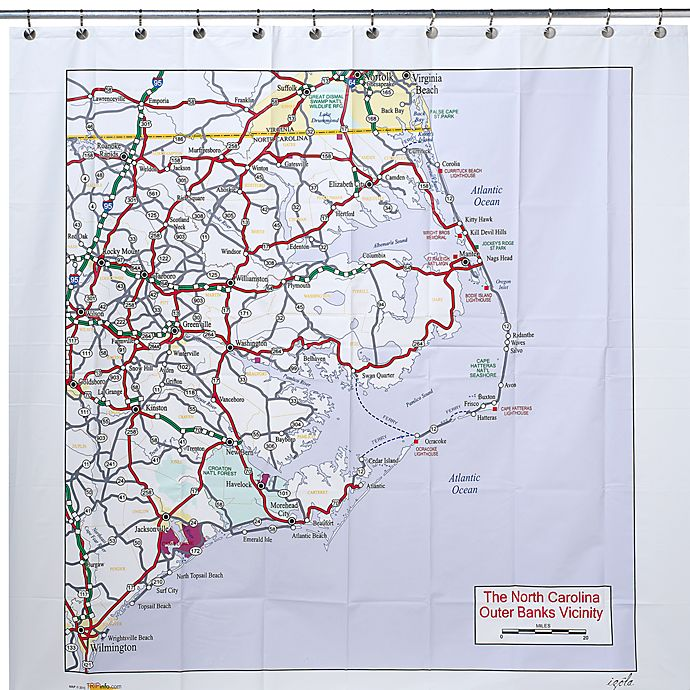 Alternate image 1 for The North Carolina Outer Banks Vicinity PEVA 72-Inch x 72-Inch Shower Curtain
