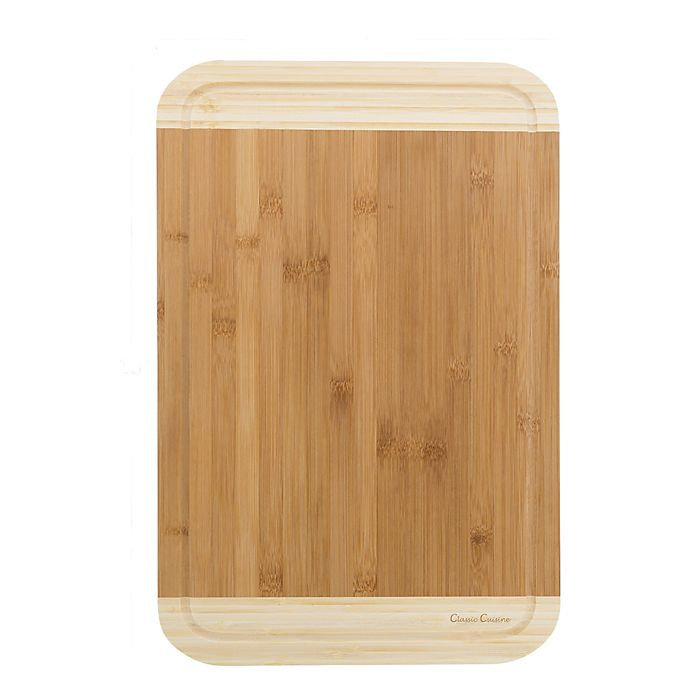 Alternate image 1 for Classic Cuisine 12-Inch x 18-Inch 2-Tone Bamboo Cutting Board