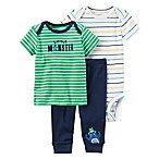 carter's® Preemie 3-Piece  Little Monster  Shirt, Pant, and Bodysuit Set in Blue/Green