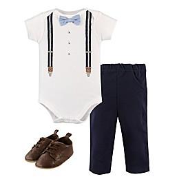 Little Treasures 3-Piece Suspender Bodysuit, Pant, and Shoe Set in Blue
