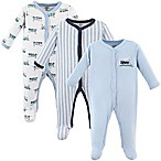 Luvable Friends® Size 3-6M 3-Pack Trains Sleep N Play Footies in Light Blue/Navy